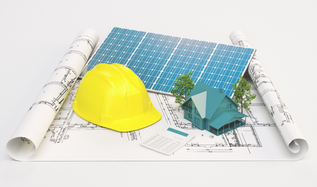 Projects for ecological house with solar panels
