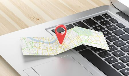 pinpoint: Geographic pin, mpa on computer Stock Photo