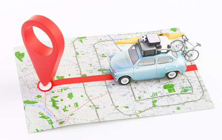 Map with car for holiday, geographic location