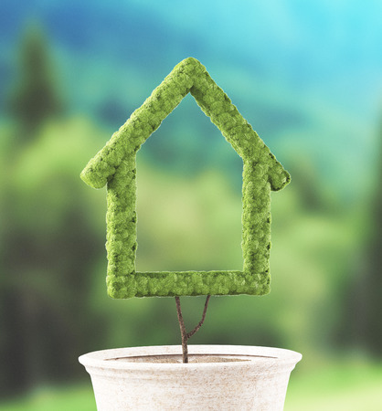 Ecological house made with grass Stock Photo