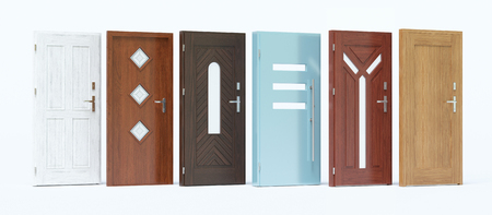 Doors with different colors and materials Stock Photo