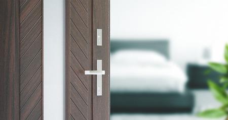 door lock love: Door open on bedroom, wooden material