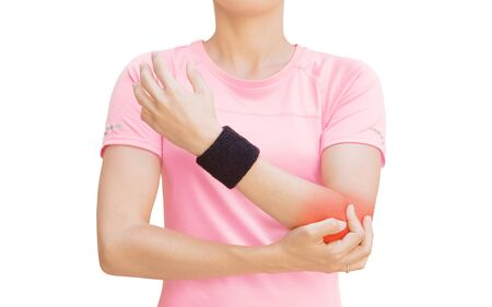 Elbow pain, tennis, sporty woman Standard-Bild