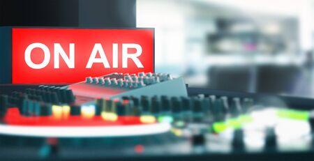On air symbol with mixer, recording studio Stock Photo
