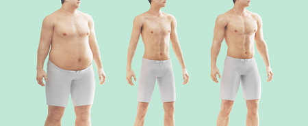 Mans body fat and thin, before and after Stock Photo