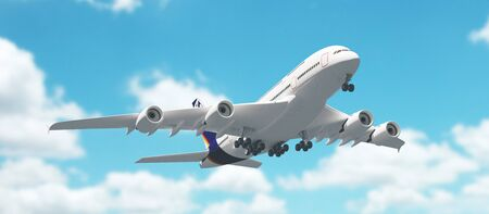 Airplane in the sky, vacation, travel Stock Photo