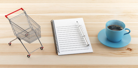 Block notes with coffee and cart, concept, work, render illustration Stock Photo