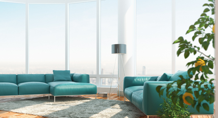 living room window: Modern living room with amazing view, 3d render illustration