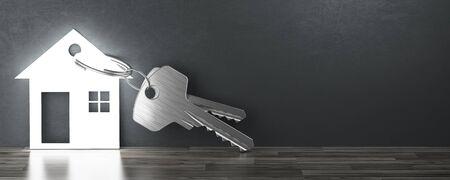 Huis sleutels, nieuw huis, 3d render illustratie