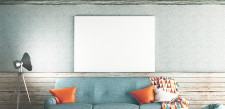 living room window: Living room with sofa and white frame on the wall, 3d render illustration Stock Photo