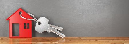 House's key, buy new home, 3d render illustration, banner Standard-Bild
