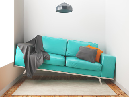 awry: Awry sofa, big sofa in a small room, 3d render illustration