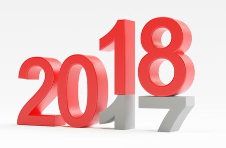 2018, happy new year, 3d render illustration Standard-Bild