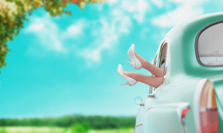 Car for holiday with legs out of the window, 3d render illustration