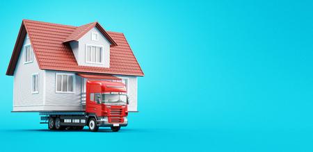 Moving house on tir, new home, 3d render illustration