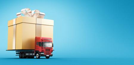 Gift on truck, birthday present, shipment 3d render illustration Stock Photo