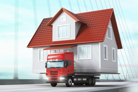 House on tir, 3d render illustration
