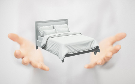Bed on hands, concept of dream or sleep