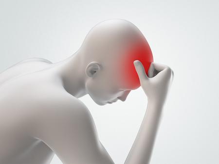 Headache, man with head pain, 3d render illustration Stock Photo