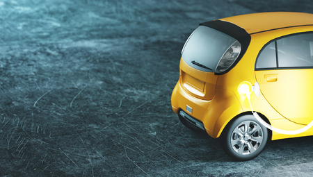 Electric car in charge, 3d render illustration