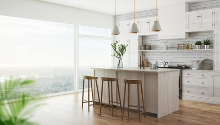 Modern kitchen with parquet and gray fornitures, 3d render illustration