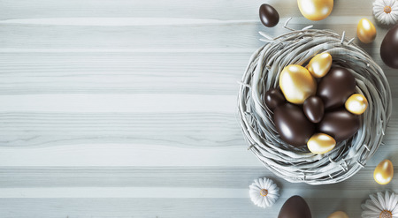 Chocaolate Easter eggs in a nest, 3d render illustration Stock Photo