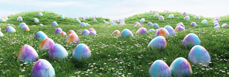 Easter eggs in a green grass, chocolate, 3d render illustration