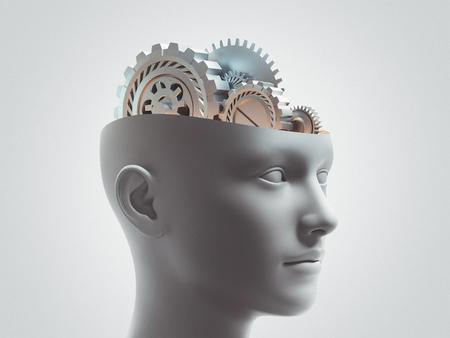 Brain wheels, ideas, 3d render illustration