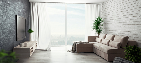 Living room with sofa and big windows, 3d render illustration