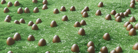 Easter eggs in a green grass, 3d render illustration Stock Photo