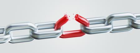 Broken chain, concept of freedom, 3d render illustration Standard-Bild - 111369140