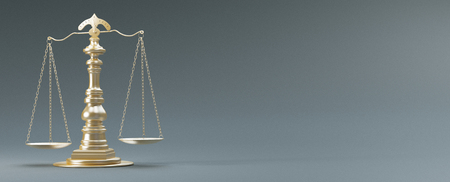 Scales of justice, concept of law and justice, 3d render illustration