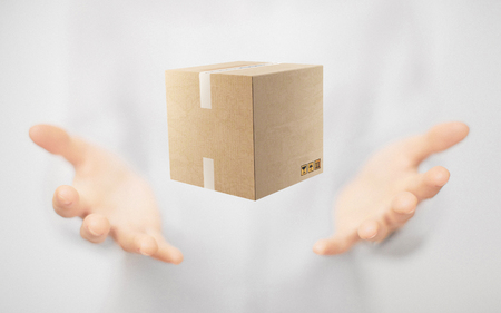 Box on hands, present or gift, shipping Standard-Bild - 111369146