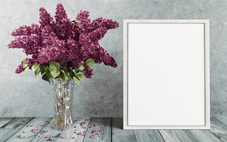 White canvas with purple flowers in a vase, 3d render illustration