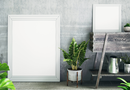 White frame or canvas with plant next to it, 3d render illustration