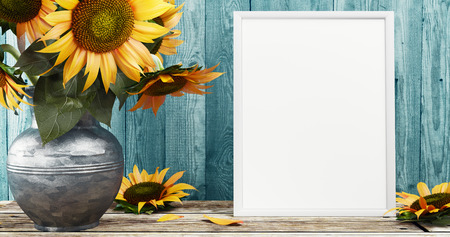 White frame with sunflowers, 3d render illustration Stock Photo