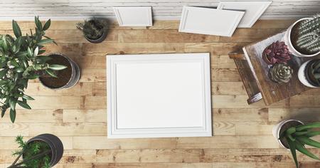 White frame on a wooden floor, 3d render illustration