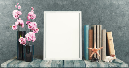 White canvas on table with flowers, 3d render illustration Stock Photo