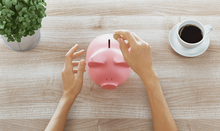 Hands put money into a piggy bank, saving money Standard-Bild - 111369156