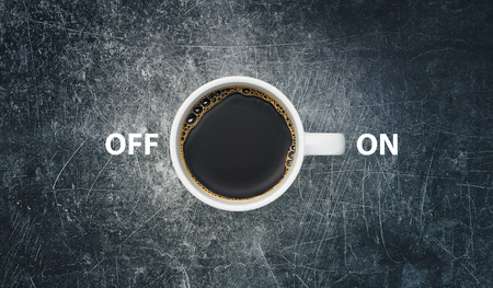 Cup of coffee with on and off, 3d render illustration Фото со стока