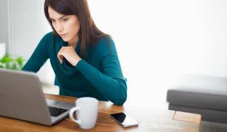 Woman work with pc and credit card, business