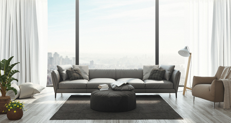 Modern living room with amazing view, 3r dender illustration