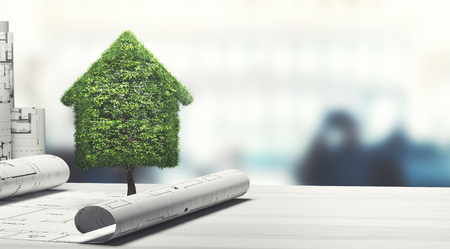 Green and ecology house with buildings, 3d render illustration Stock Photo