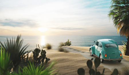 Vintage car on the beach with sunset, 3d render illustration