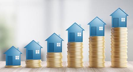 Houses on coins, concept of business, 3d render illustration