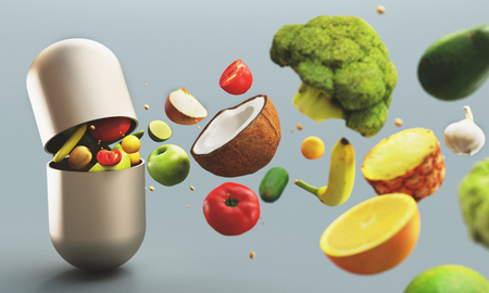 Fruits and vegetables as out of tablet, vitamins, 3d render illustration