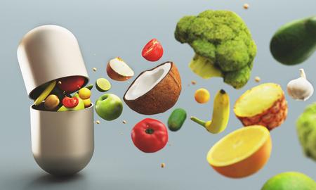 Fruits and vegetables as out of tablet, vitamins, 3d render illustration