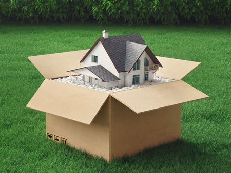 New home in a box, green house, environment, 3d render illustration