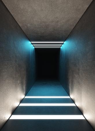 Tunnel with light, modern building, 3d render illustration Standard-Bild - 111369273