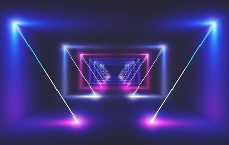 Neon light in a room, 3d render ilustration Фото со стока